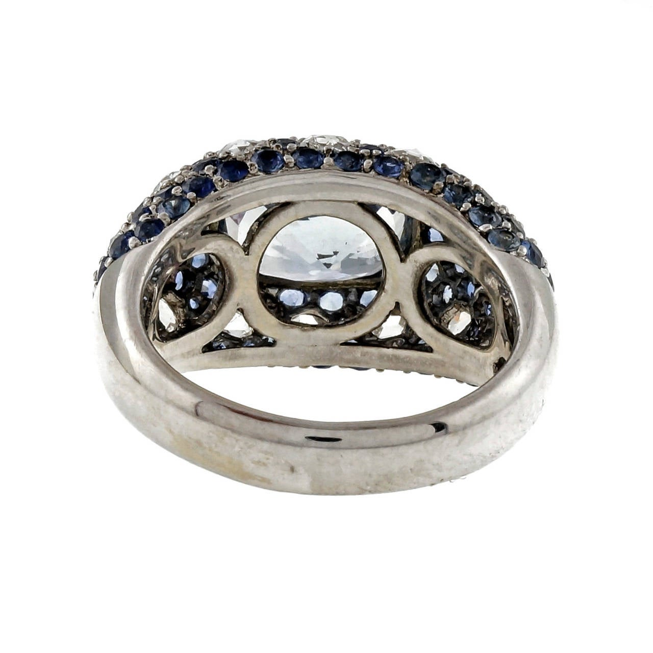 Rose Cut Sapphire Diamond Gold Dome Ring For Sale