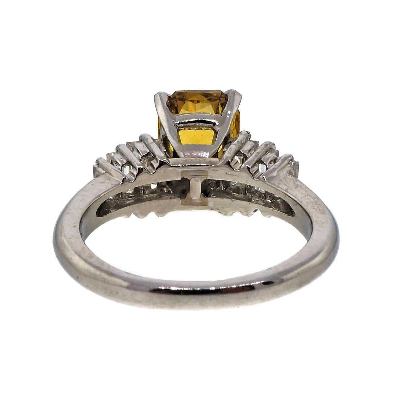 Natural Green Yellow Diamond Platinum Engagement Ring For Sale at 1stdibs