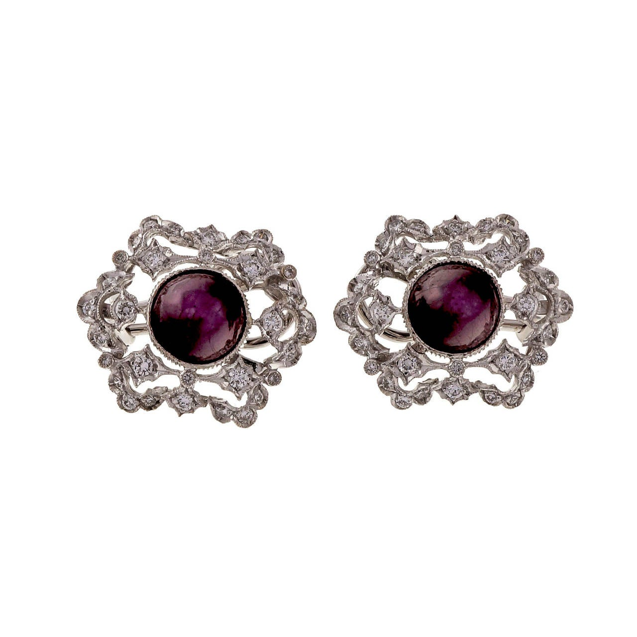 Natural GIA Cert Star Ruby Diamond White Gold Earrings 5