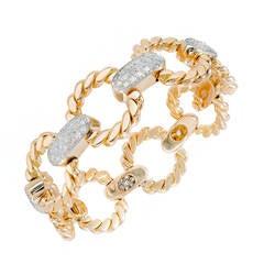 Cartier Diamond Gold Platinum Circle Bracelet