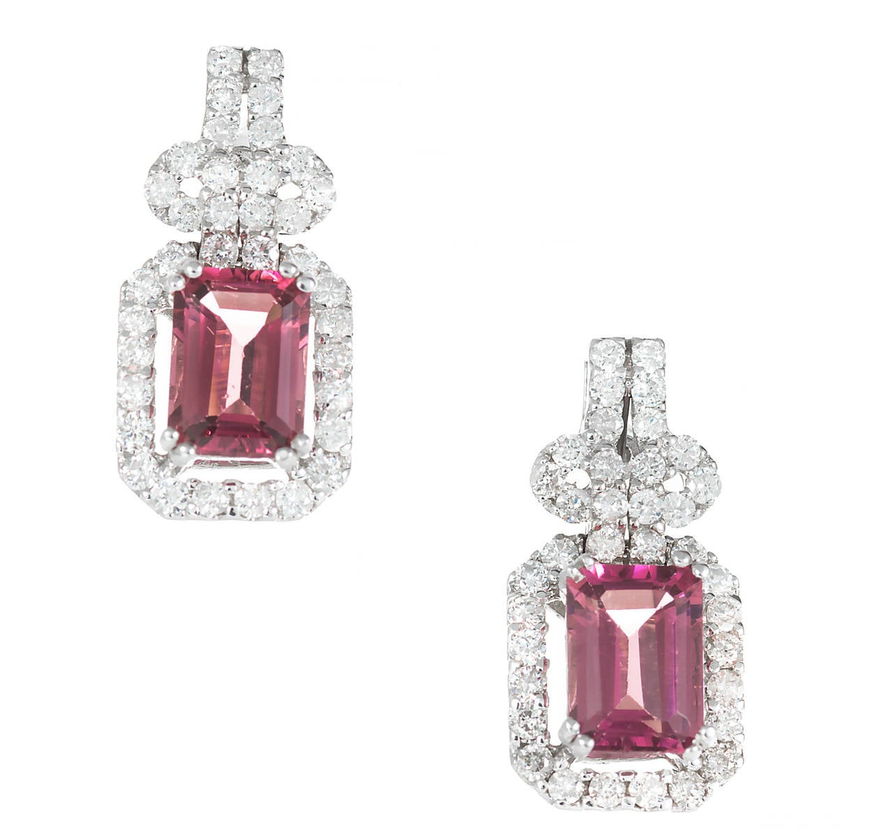 Pink Tourmaline Diamond Gold Dangle Earrings