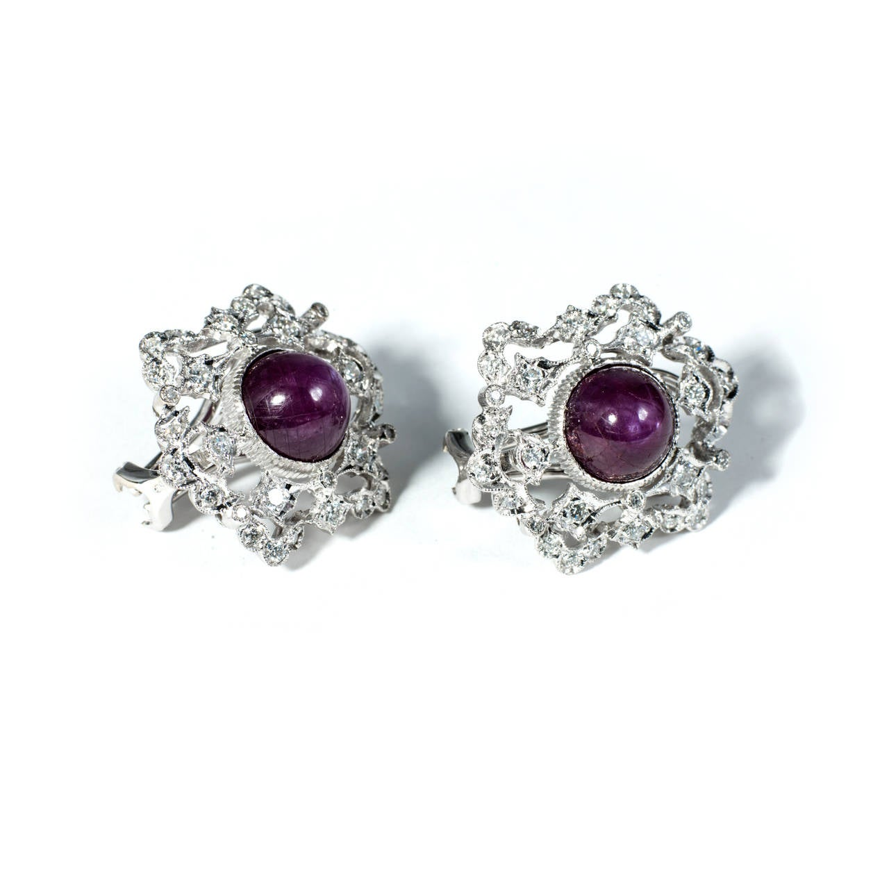Natural GIA Cert Star Ruby Diamond White Gold Earrings 3