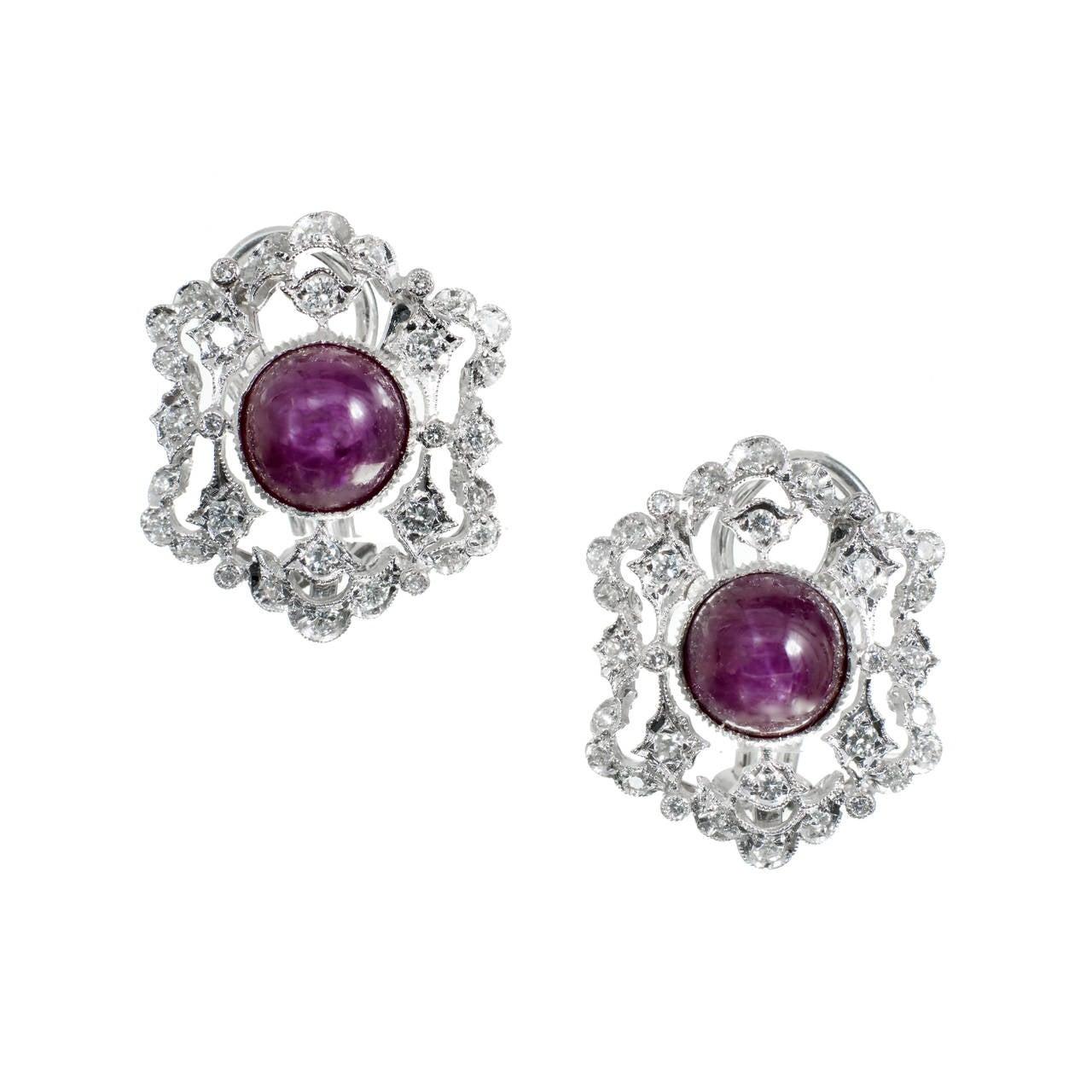 Natural GIA Cert Star Ruby Diamond White Gold Earrings 1