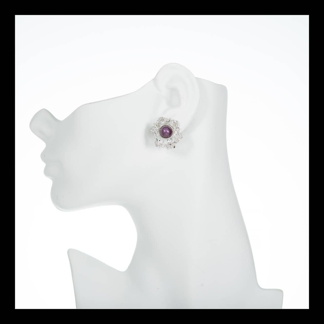 Natural GIA Cert Star Ruby Diamond White Gold Earrings 2