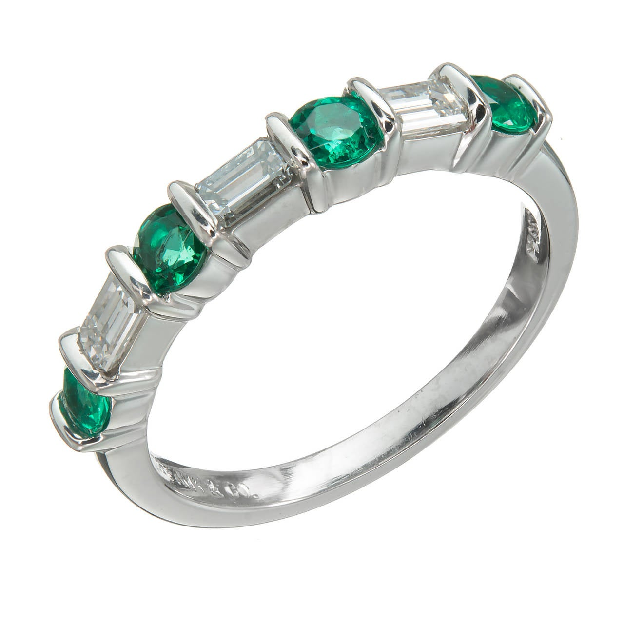 Tiffany and Co Emerald Diamond Platinum Wedding Band Ring at 1stdibs