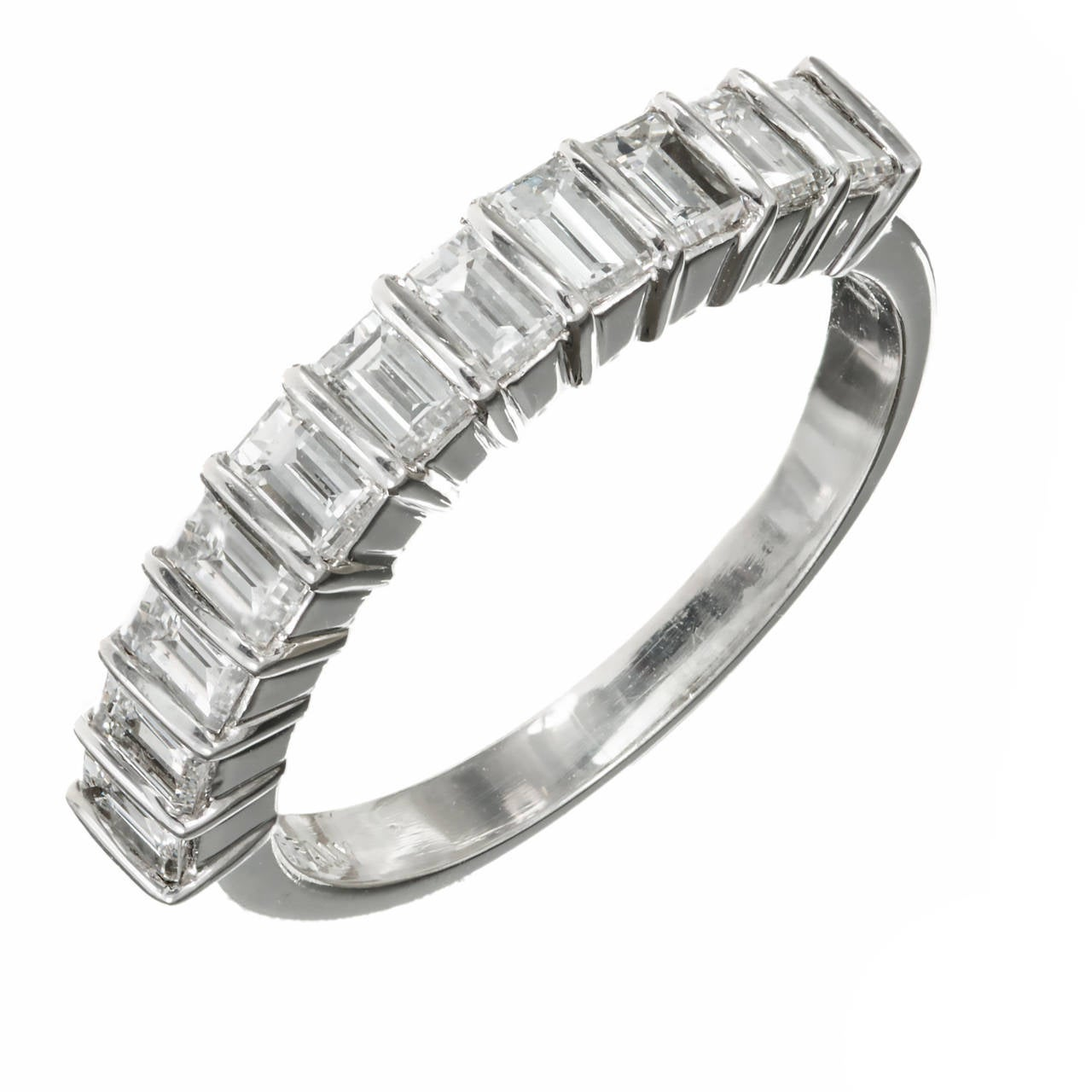 Tiffany and Co Emerald Cut Diamond Platinum Wedding Band Ring at