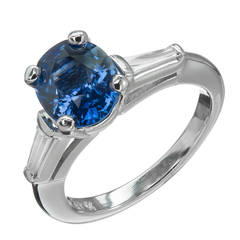 Cornflower Blue Sapphire Diamond Platinum Engagement Ring