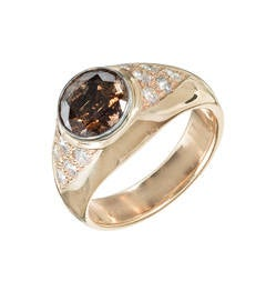 2.80 Carat GIA Cert Orange Brown Diamond Gold platinum Ring
