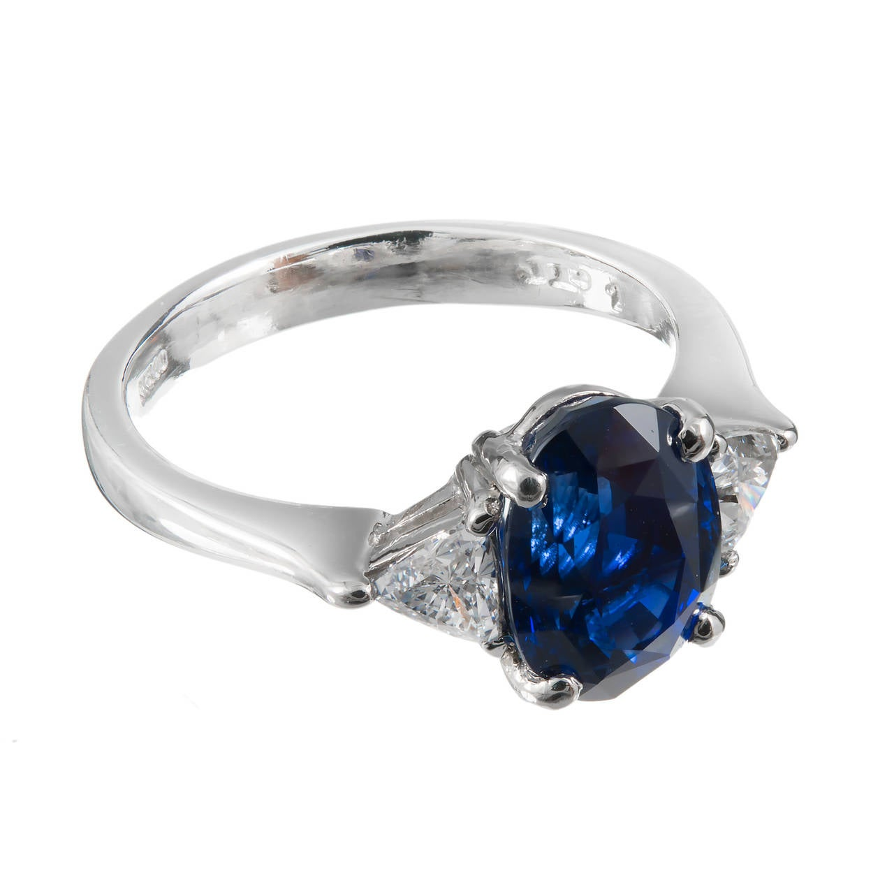 royal blue sapphire platinum engagement