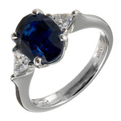 Natural Royal Blue Sapphire Diamond Platinum Engagement Ring