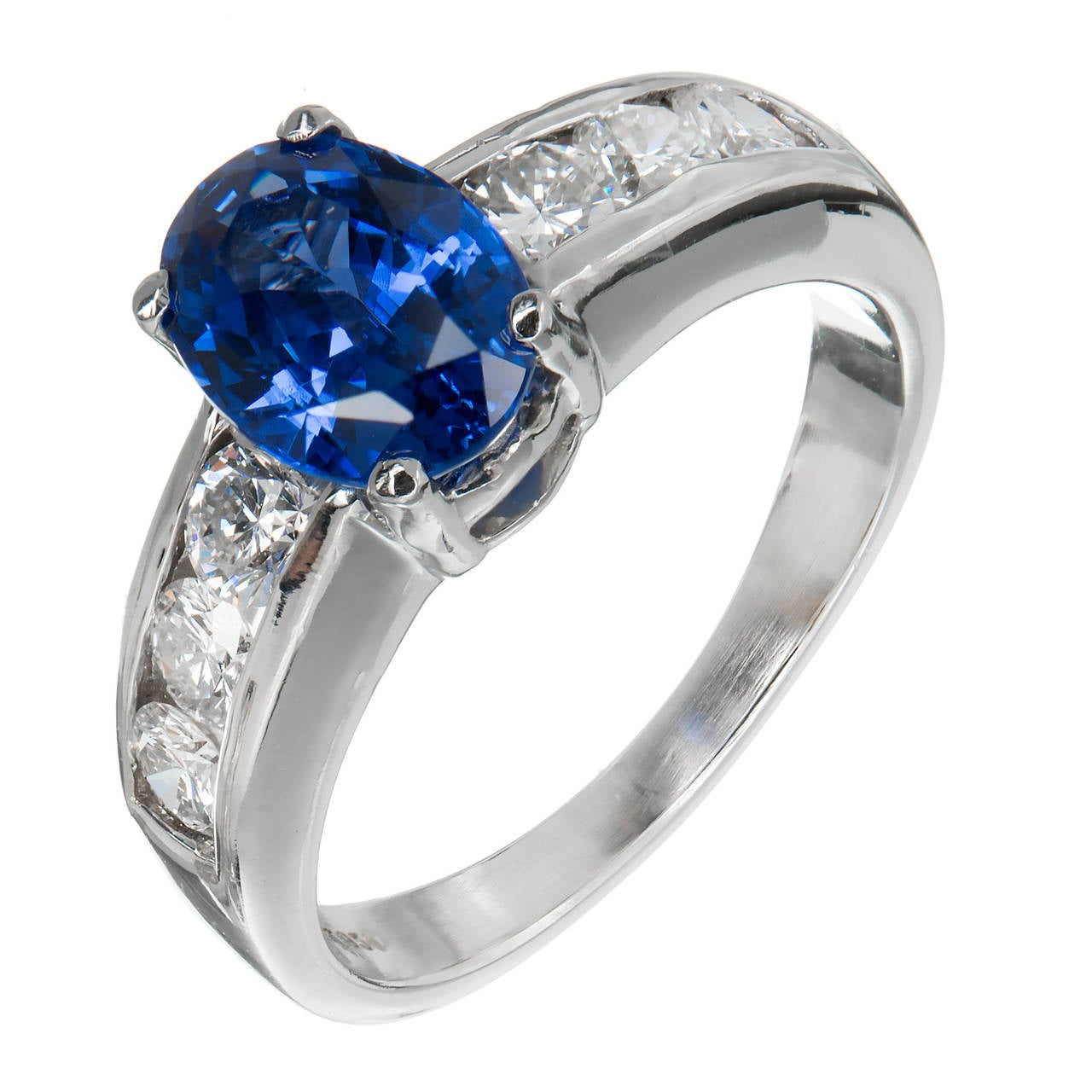 Natural Blue Sapphire and Diamond Platinum Engagement Ring For Sale