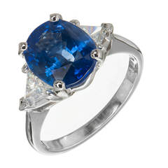 Bright Cornflower Blue Sapphire and Diamond Platinum Engagement Ring