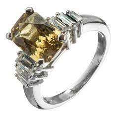 Natural Green Yellow Diamond Platinum Engagement Ring