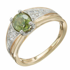 Yellow Green Demantoid Garnet Diamond Gold Platinum Cocktail Ring