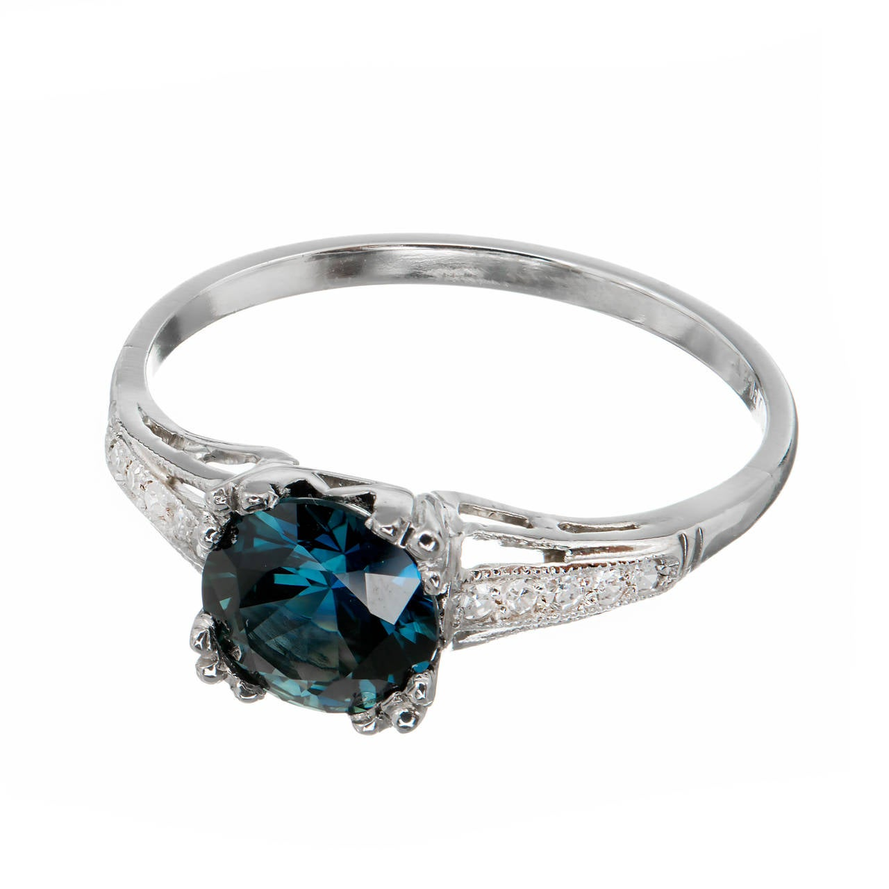 Natural Gia Cert Blue Sapphire Diamond Platinum Engagement
