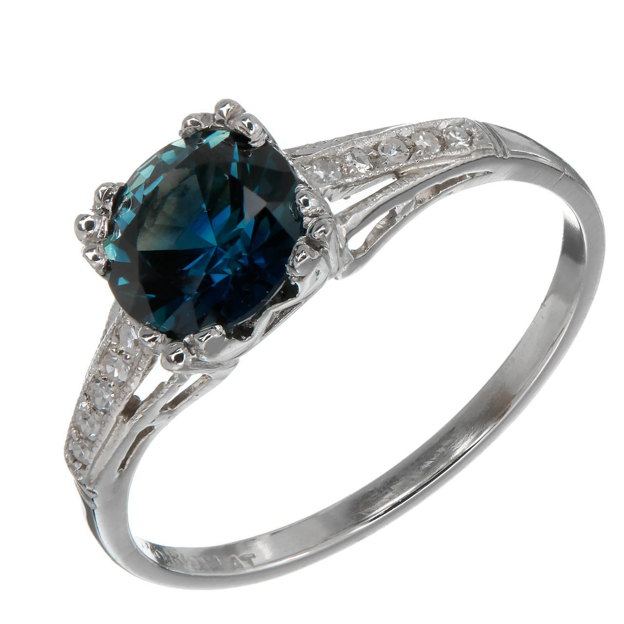 Natural GIA Cert Blue Sapphire Diamond Platinum Engagement Ring