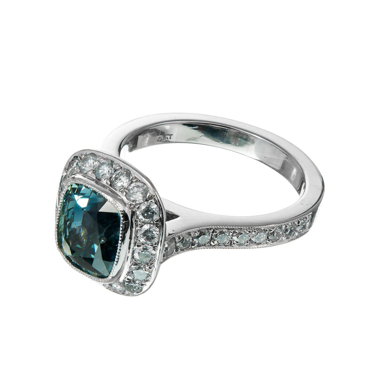 Peter Suchy Rare Greenish Blue Sapphire Diamond Platinum Halo Engagement  Ring 2
