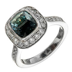 Peter Suchy Rare Greenish Blue Sapphire Diamond Platinum Halo Engagement Ring