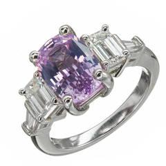 Peter Suchy GIA Cert Purple Pink Sapphire Diamond Platinum Engagement Ring