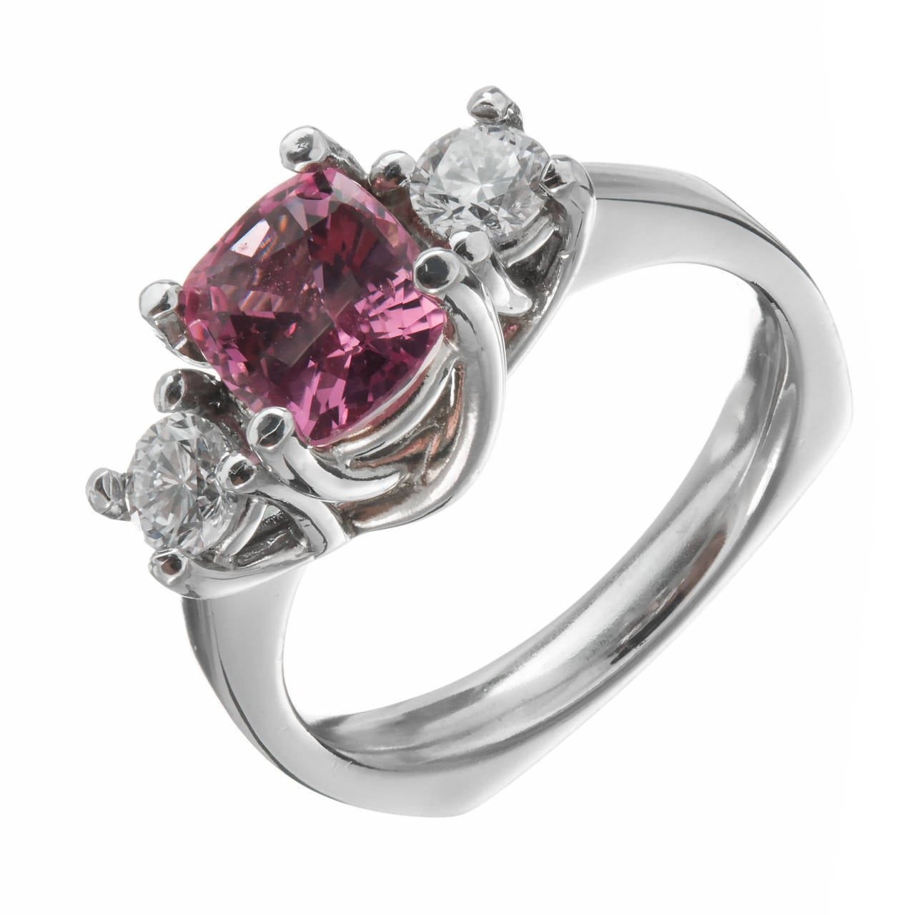 Padparadscha GIA Cert Sapphire Diamond Platinum Engagement Ring