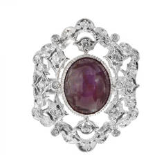Natural Purple-Red Star Ruby Diamond Gold Cocktail Ring