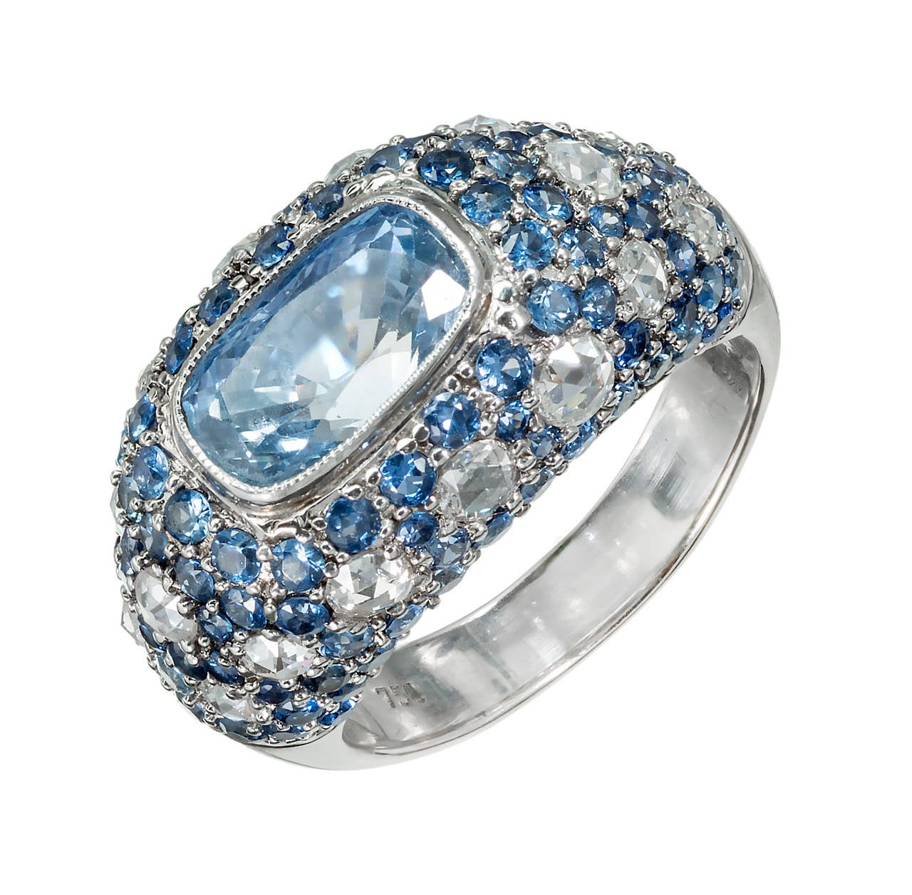 Sapphire Diamond Gold Dome Ring For Sale