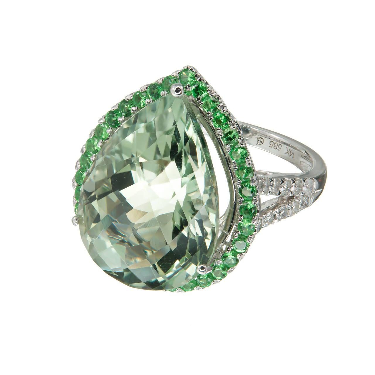 Green Quartz Prasiolite Garnet Diamond Gold Cocktail Ring In Good Condition For Sale In Stamford, CT