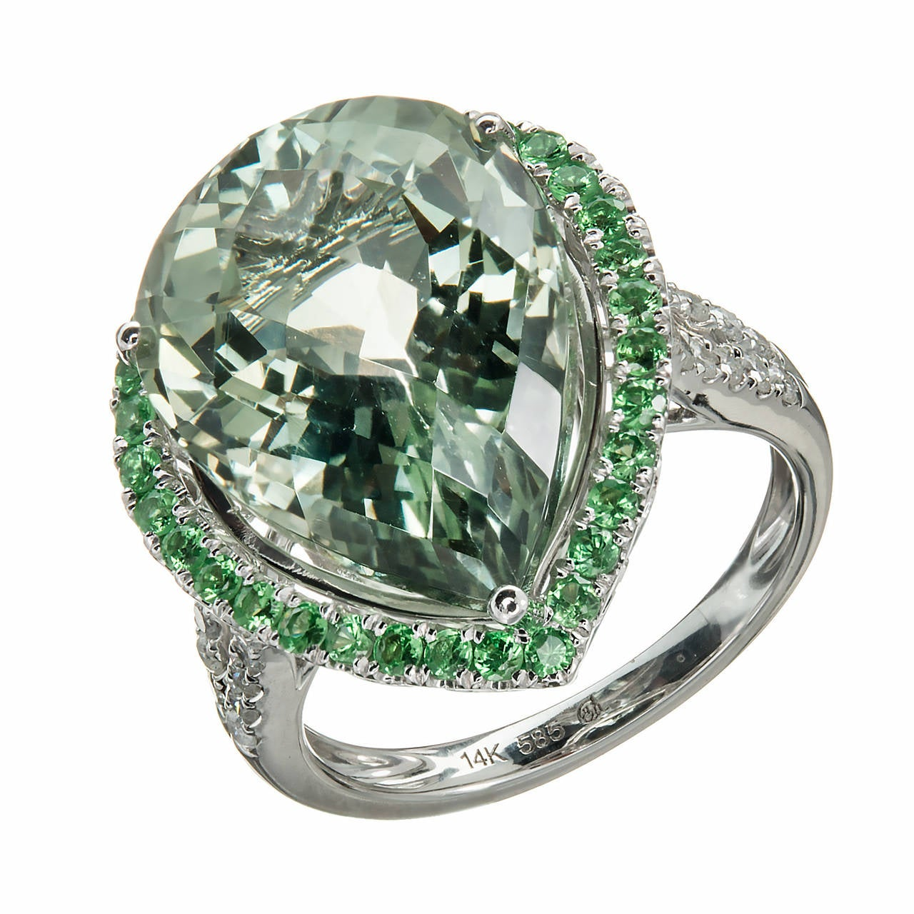 Green Quartz Prasiolite Garnet Diamond Gold Cocktail Ring