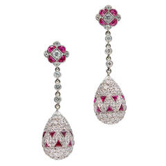 Ruby Diamond Platinum Dangle Drop Earrings