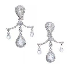 Fred Leighton Pear Cut Briolette Diamond Platinum Dangle Earrings