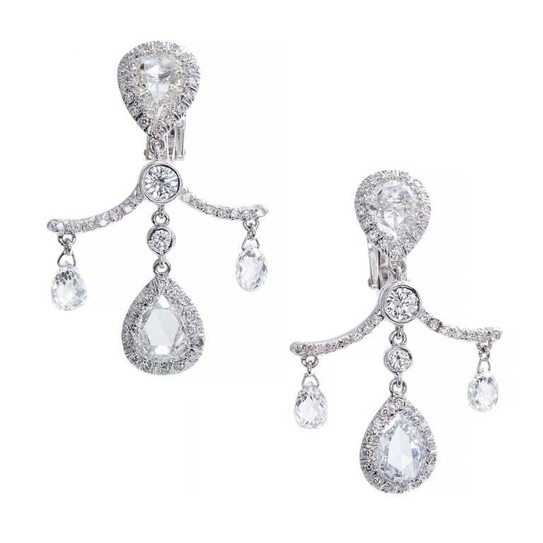 Fred Leighton Pear Cut Briolette Diamond Platinum Dangle