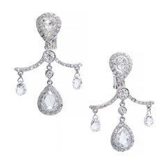 Fred Leighton 5.80 Carat Pear Cut Briolette Diamond Platinum Dangle Earrings