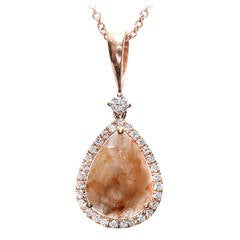 EGL Certified 2.15 Carat Natural Pink Brown Diamond Slice Gold Pendant Necklace