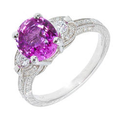 Peter Suchy 2.37 Carat Pink Sapphire Pave Diamond Platinum Engagement Ring
