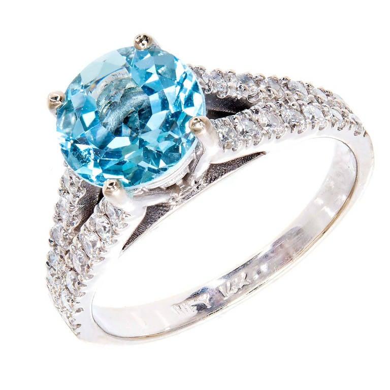 1.80 Carat Natural Aqua Diamond White Gold Engagement Ring