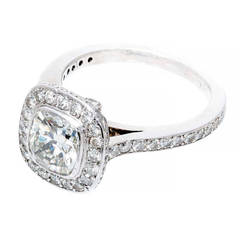 Diamond Halo Platinum Ring