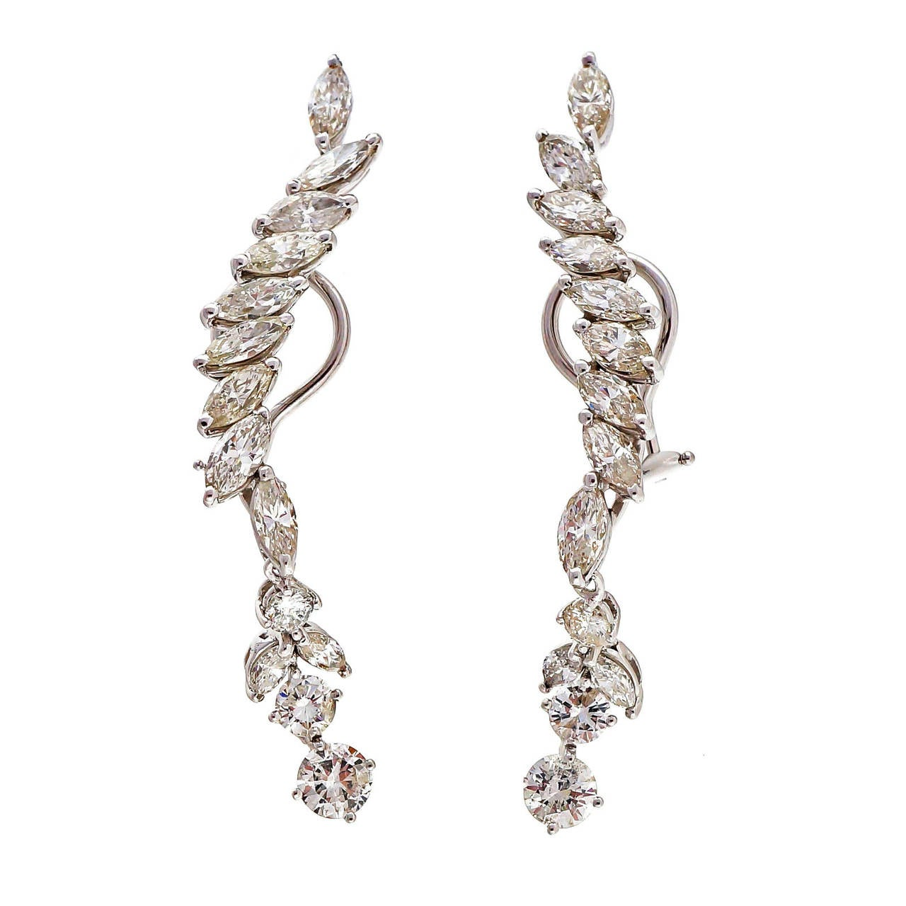 1950s marquise gold dangle earrings for sale