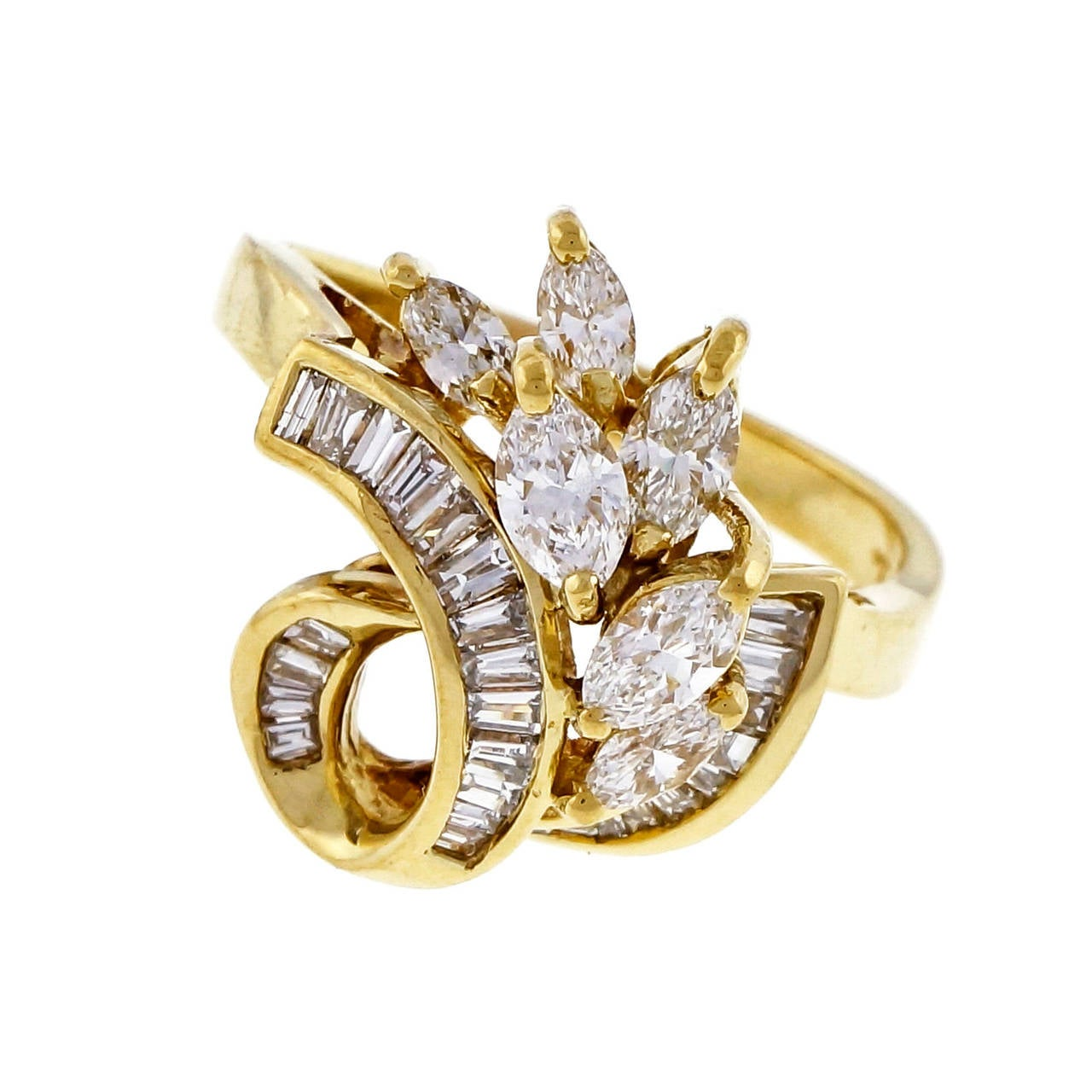 Marquise Baguette Diamond Gold Swirl Cocktail Ring