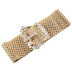 Diamond Gold Mesh Buckle Bracelet