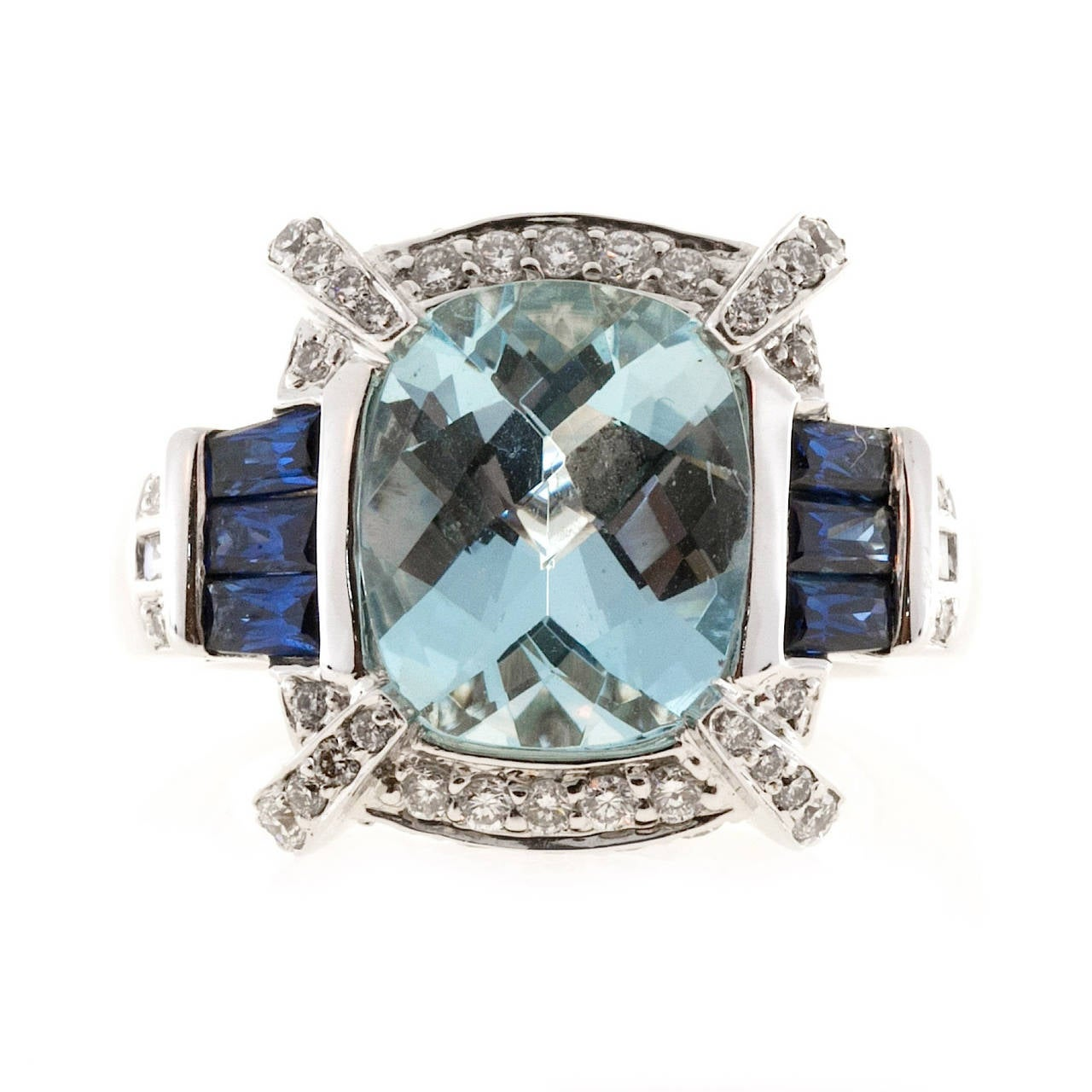 Charles Krypell Aquamarine Sapphire Diamond Gold Cocktail Ring For Sale 1