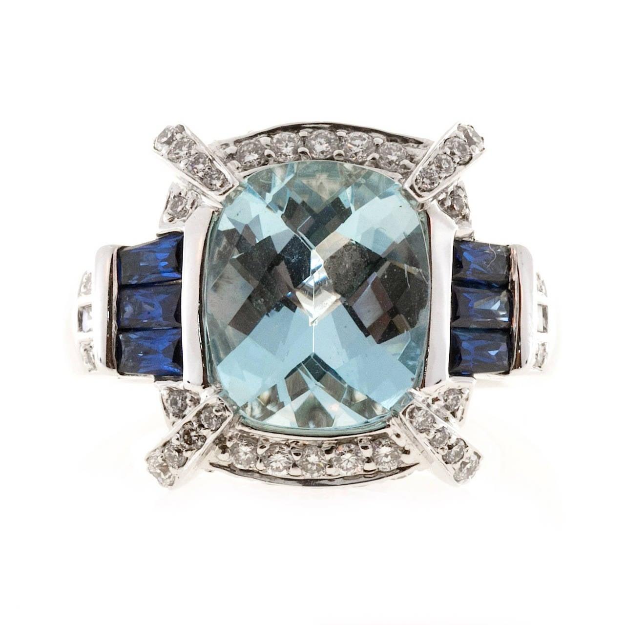 Charles Krypell Aquamarine Sapphire Diamond Gold Cocktail Ring 6
