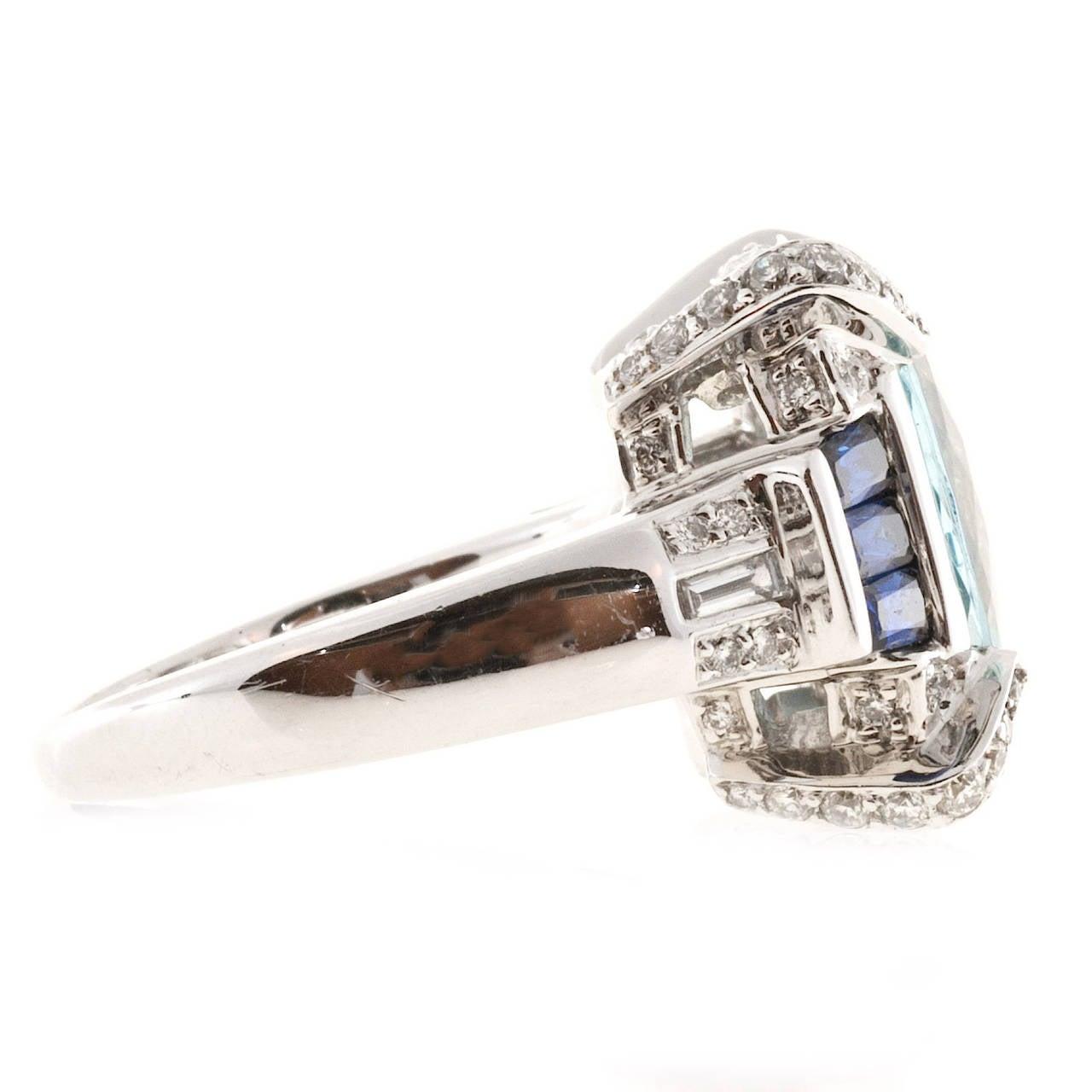 Charles Krypell Aquamarine Sapphire Diamond Gold Cocktail Ring 4