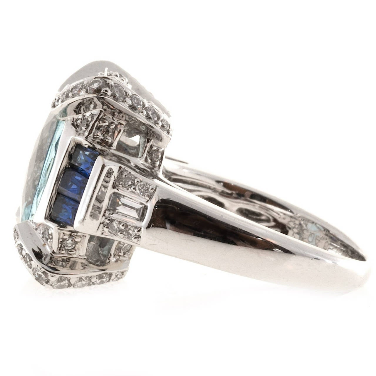 Baguette Cut Charles Krypell Aquamarine Sapphire Diamond Gold Cocktail Ring For Sale