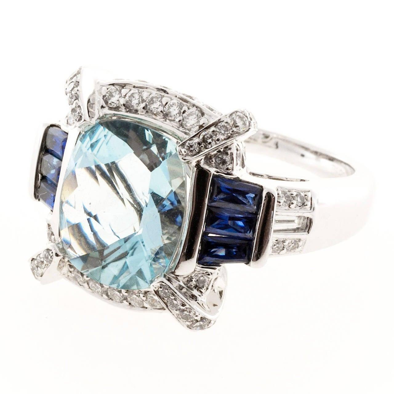 Charles Krypell Aquamarine Sapphire Diamond Gold Cocktail Ring 2