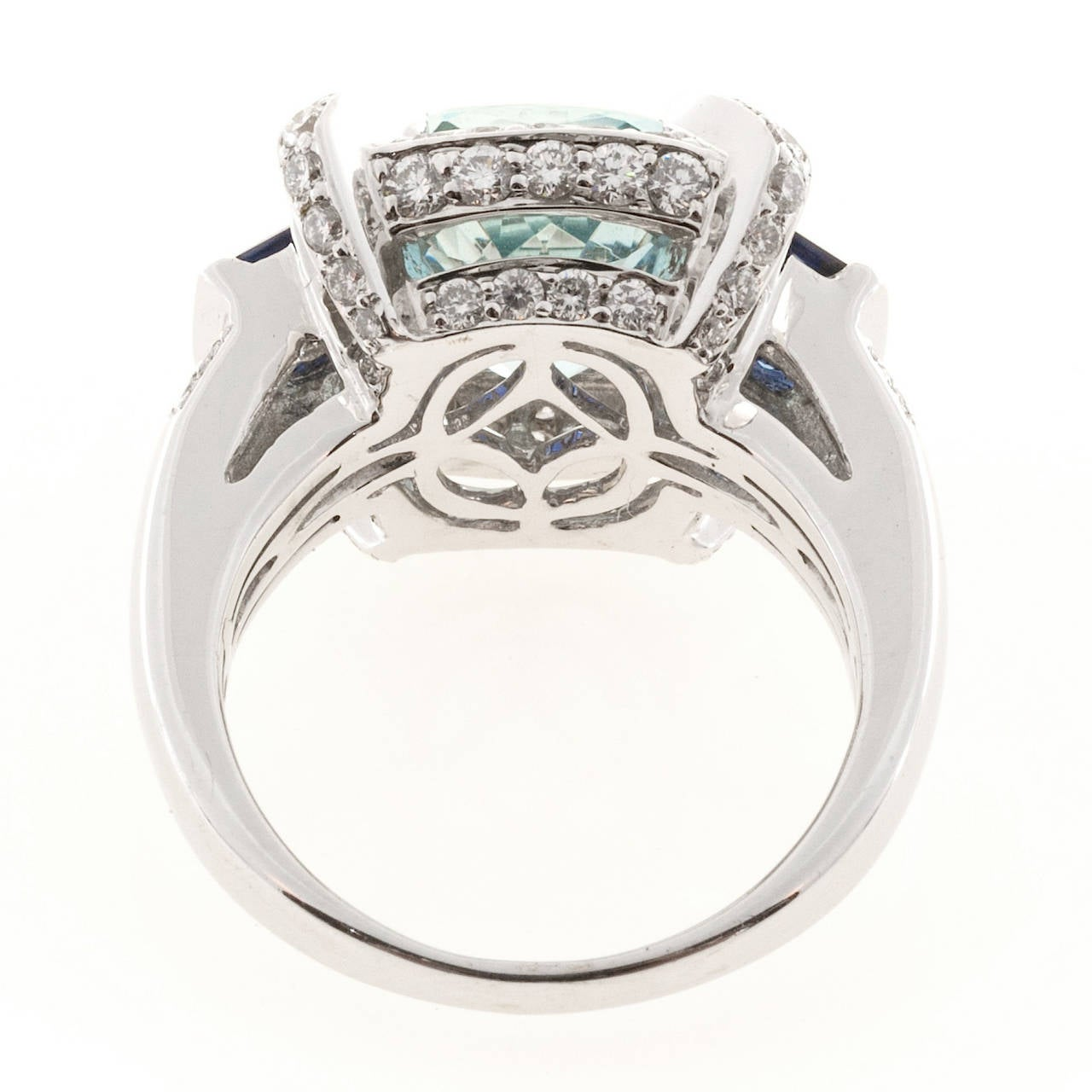 Charles Krypell Aquamarine Sapphire Diamond Gold Cocktail Ring For Sale 2