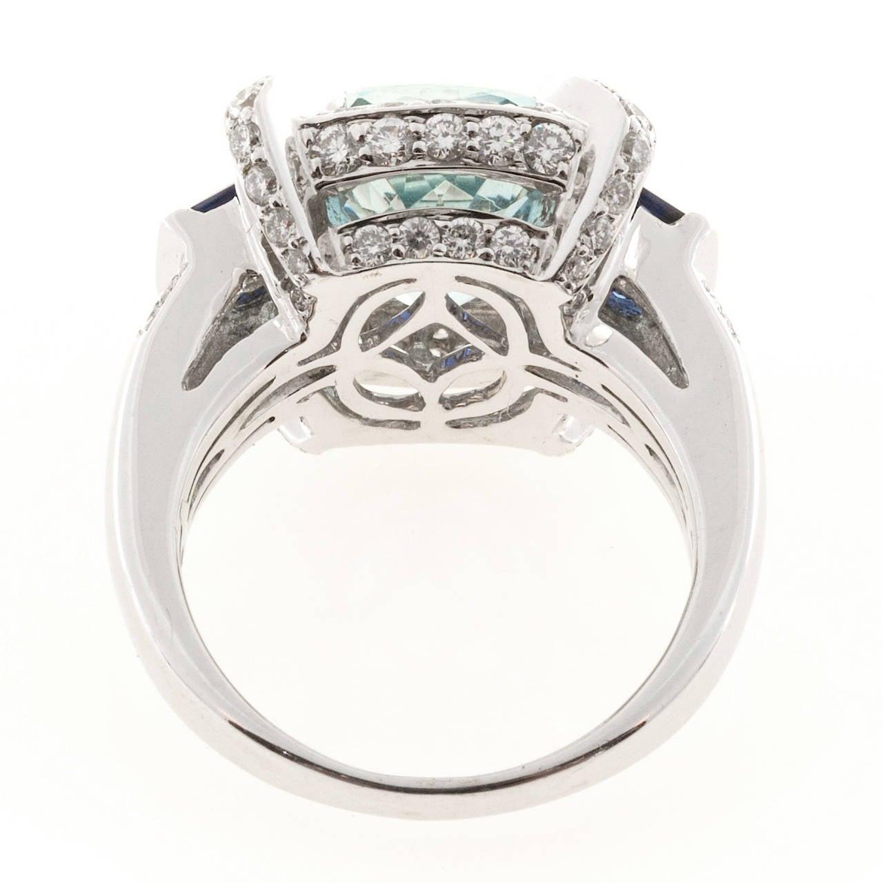Charles Krypell Aquamarine Sapphire Diamond Gold Cocktail Ring 7