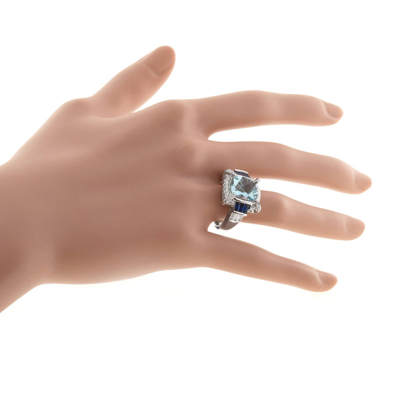 Charles Krypell Aquamarine Sapphire Diamond Gold Cocktail Ring 5