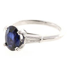Oval Royal Blue Sapphire Diamond Platinum Ring