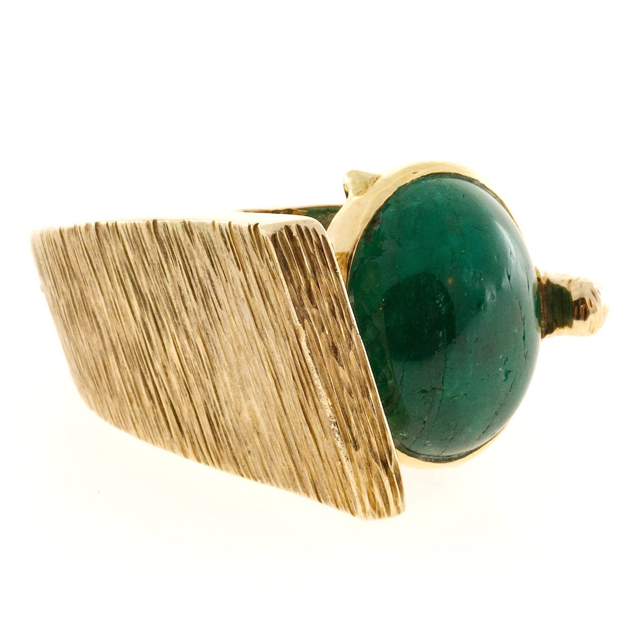 1950s Jordin Cabochon Emerald Gold Bezel Set Cocktail Ring 6