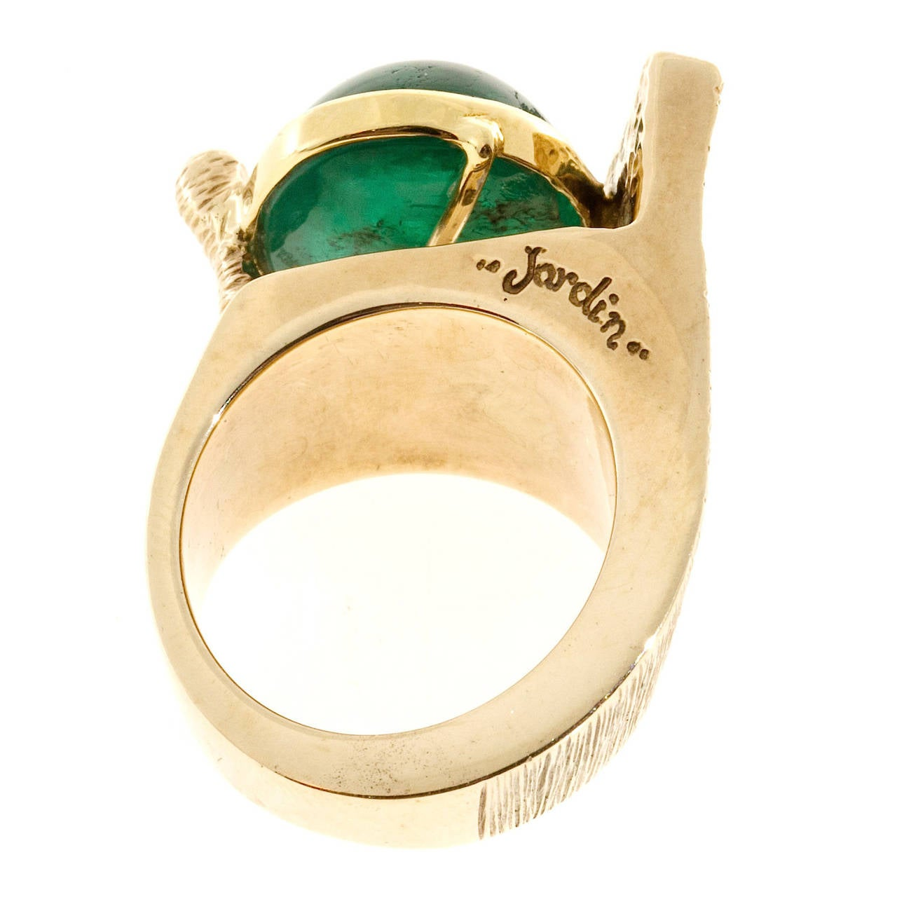 1950s Jordin Cabochon Emerald Gold Bezel Set Cocktail Ring 4